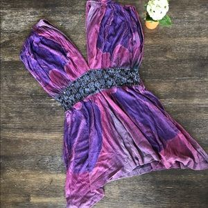 Free People blouse top purple and pink sequins